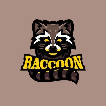 Guaxinim mascote logotipo esports ilustração vetorial