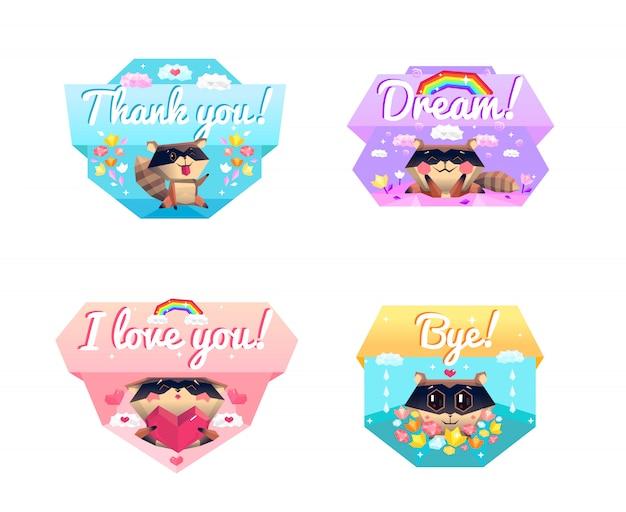 Guaxinim message 4 cartoon icons composição