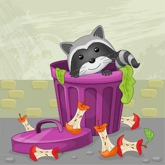 Guaxinim no lixo, ilustração com estilo cartoon