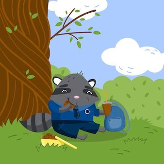Guaxinim pequeno bonito no uniforme da escola que senta-se sob a árvore no gramado e que come a ilustração