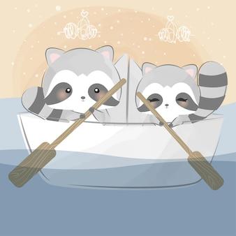 Guaxinins fofos em um barco de papel