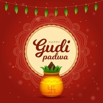 Gudi padwa com planta e vaso