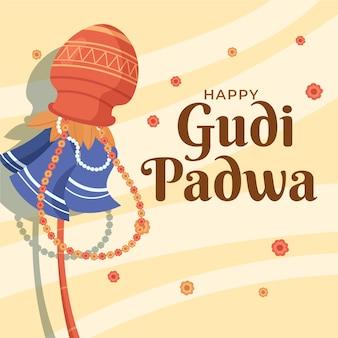 Gudi padwa mão estilo desenhado