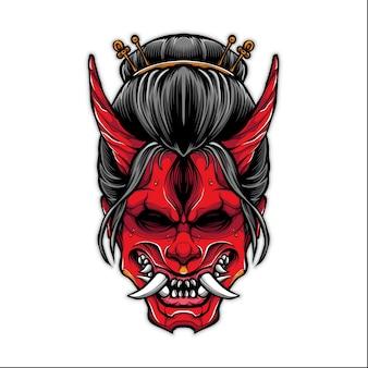 Gueixa assustadora com ilustração de máscara oni