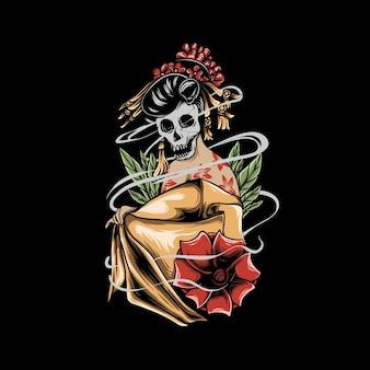Gueixa com flores na cabeça de caveira e ilustração de fumaça
