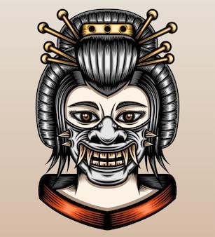 Gueixa com máscara de samurai oni.