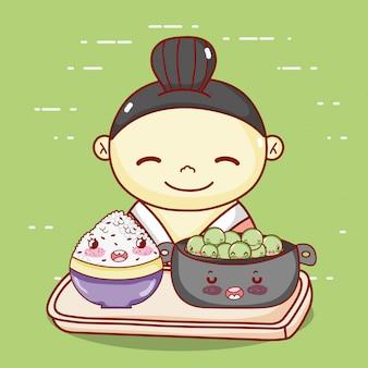 Gueixa com tigela e arroz na bandeja comida japonesa cartoon, sushi e rolos