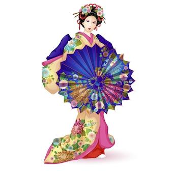 Gueixa em um quimono com um guarda-chuva.