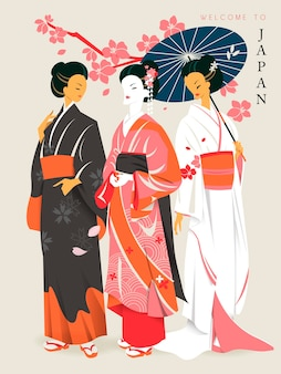 Gueixas elegantes com lindos quimonos e sakuras