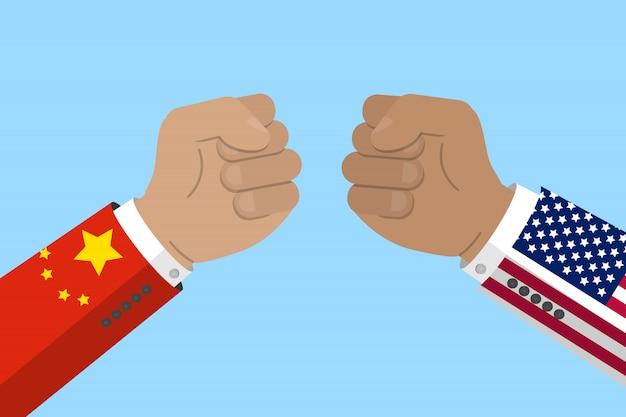 Guerra comercial, china e eua, conflito comercial e econômico. punho com bandeira chinesa e americana. ilustração em vetor de estoque