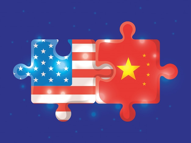 Guerra comercial entre ilustração da china e dos eua