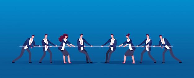 Guerra de equipe. pessoas de negócios rivais puxando a corda. concorrência, conflito no conceito de vetor de escritório