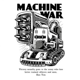 Guerra de máquina preto e branco