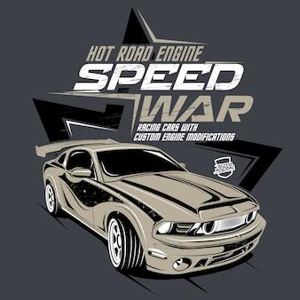 Guerra de velocidade, ilustração de um carro rápido clássico