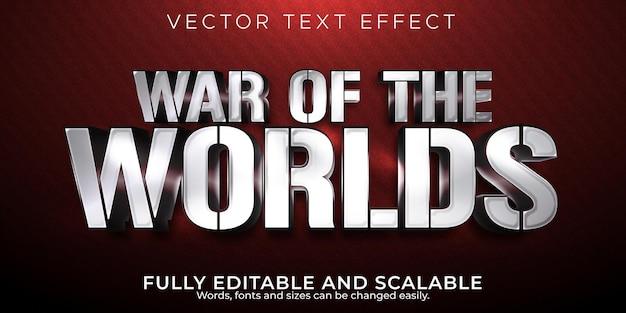 Guerra dos mundos efeito de texto editável guerreiro e cavaleiro estilo de texto