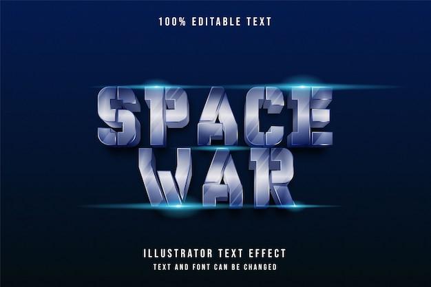 Guerra espacial, efeito de texto editável 3d.
