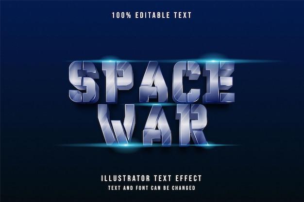 Guerra espacial, efeito de texto editável em 3d, gradação azul, efeito do estilo dos anos 80