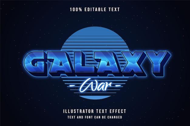 Guerra galáxia, efeito de texto editável em 3d gradação azul roxo estilo de texto neon dos anos 80