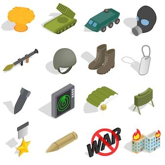 Guerra icons set em estilo 3d isométrico isolado no fundo branco
