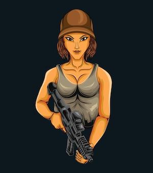 Guerreira de desenho animado com uma arma
