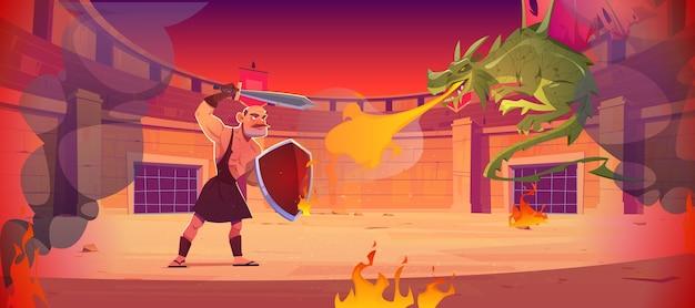 Guerreiro antigo luta contra dragão na arena de luta anfiteatro