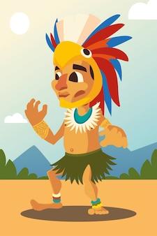 Guerreiro asteca em roupas tradicionais e capacete ilustração da paisagem