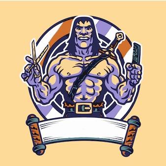 Guerreiro bárbaro musculoso segurando uma tesoura e pente barbearia logotipo
