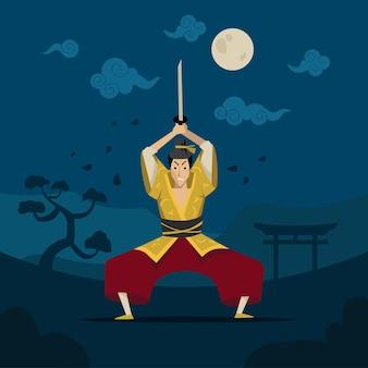 Guerreiro chinês ou japonês em quimono tradicional