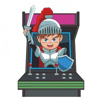 Guerreiro com desenhos animados de videogame de espada