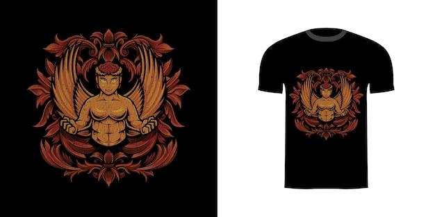 Guerreiro de ângulo de design de camiseta com ornamento de gravura