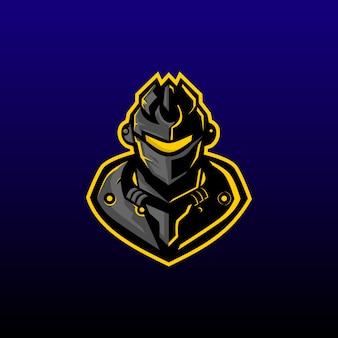 Guerreiro de máquina e design de logotipo de esportes. mascote do jogo do guerreiro da máquina ou perfil da contração