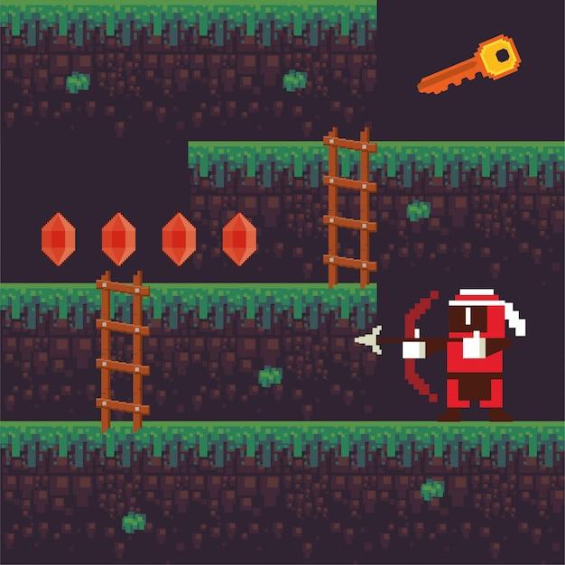 Guerreiro de tiro com arco de videogame em cena pixelizada