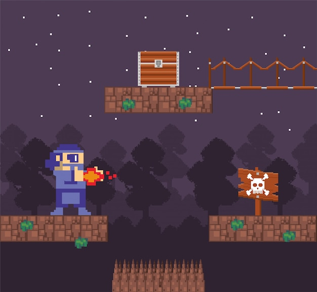 Guerreiro de videogame atirando em cena pixelizada