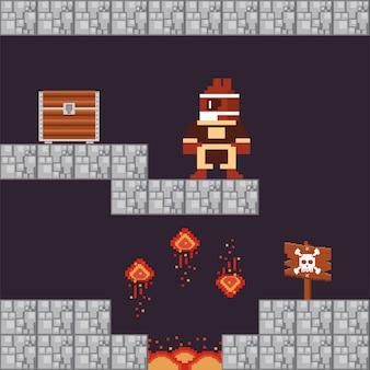 Guerreiro de videogame com baú do tesouro na cena pixelizada
