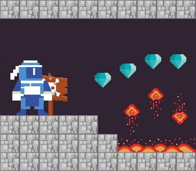 Guerreiro de videogame com diamantes em cena pixelizada
