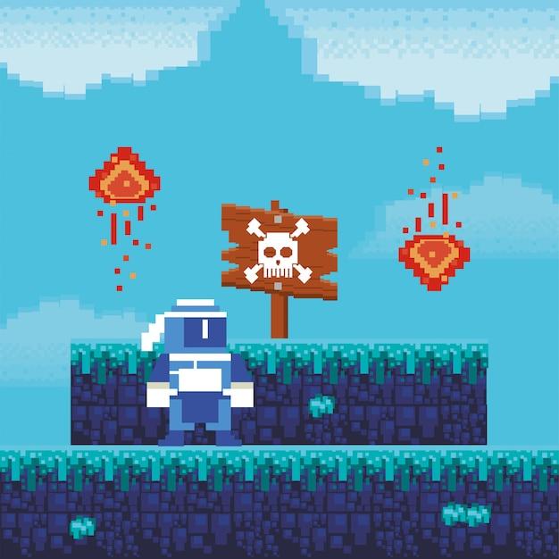 Guerreiro de videogame com etiqueta de perigo na cena pixelizada