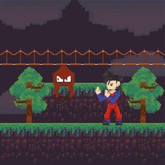 Guerreiro de videogame em cena pixelizada