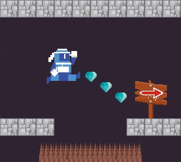 Guerreiro de videogame pulando na cena pixelizada