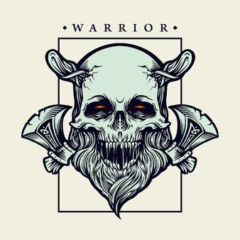 Guerreiro do crânio viking com ilustrações de machado