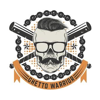 Guerreiro do gueto. crânio com bigode e sunglases. elementos para impressão de t-shirt, modelo de cartaz. ilustração.