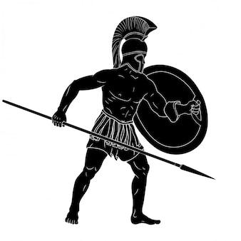 Guerreiro do império romano em armadura e um capacete com uma arma na mão está pronto para ataque e defesa