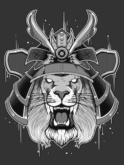 Guerreiro do japão com cabeça de leão
