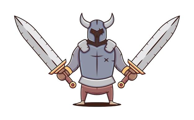 Guerreiro em armadura com duas espadas enormes. caráter sombrio. ilustração em vetor plana dos desenhos animados.