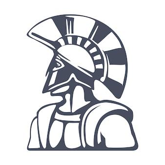 Guerreiro espartano com capacete tradicional na cabeça ilustração do ícone do emblema em estilo vintage