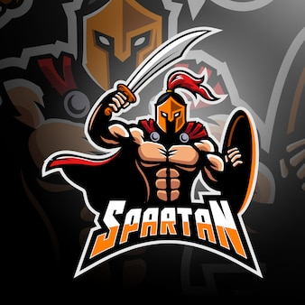 Guerreiro espartano com espada e escudo