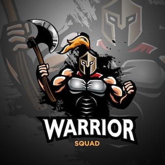 Guerreiro espartano com um machado na ilustração a mão