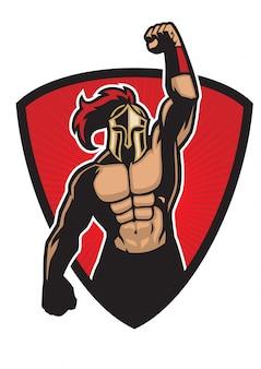 Guerreiro espartano muscular no crachá