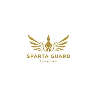 Guerreiro espartano ouro com logotipo de asas, anjo espartano
