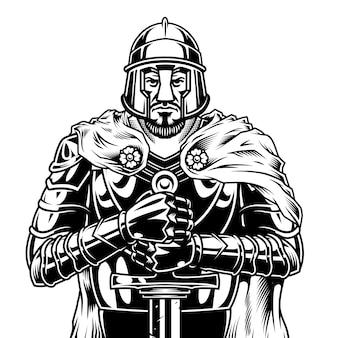 Guerreiro medieval monocromático vintage