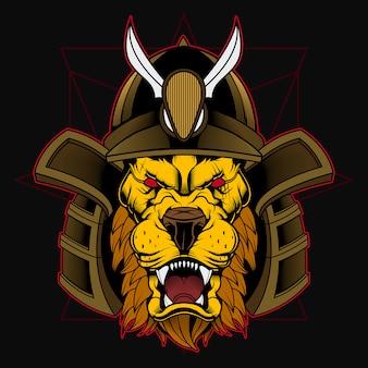 Guerreiro samurai japonês com cabeça de leão